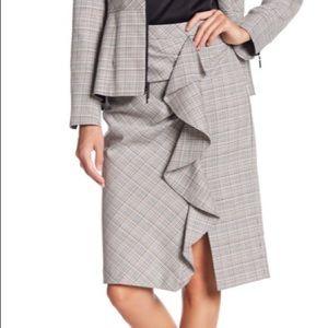 Nanette Lepore playful plaid ruffle pencil skirt 4